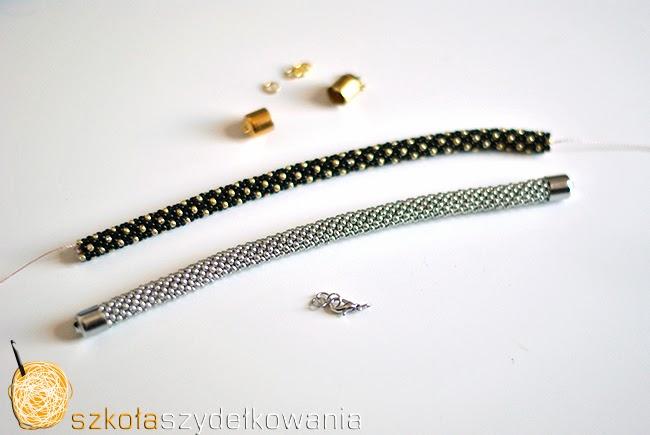 sznur szydełkowo-koralikowy, bransoletka na szydełku