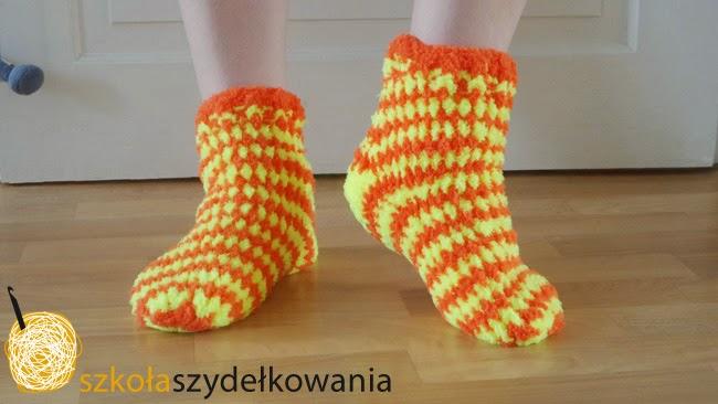 szydełkowe skarpetki, crochet socks, Szkoła Szydełkowania