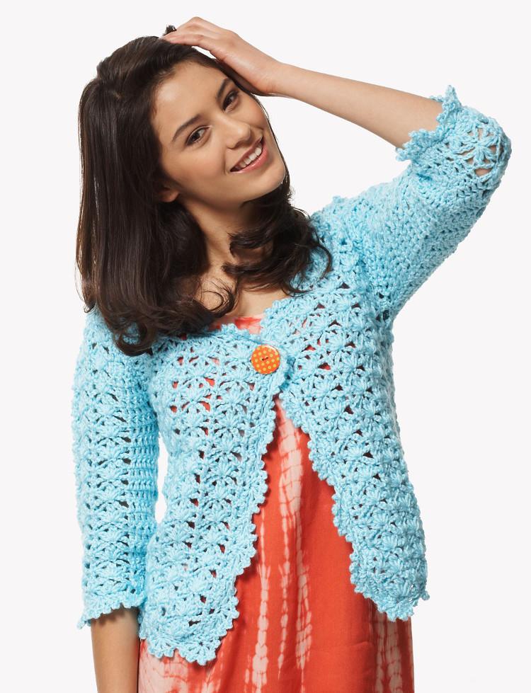 Szkoła Szydełkowania, szydełkowy kardigan, kardigan na szydełku, sweter na szydełku, żakiet na szydełku, crochet cardigan