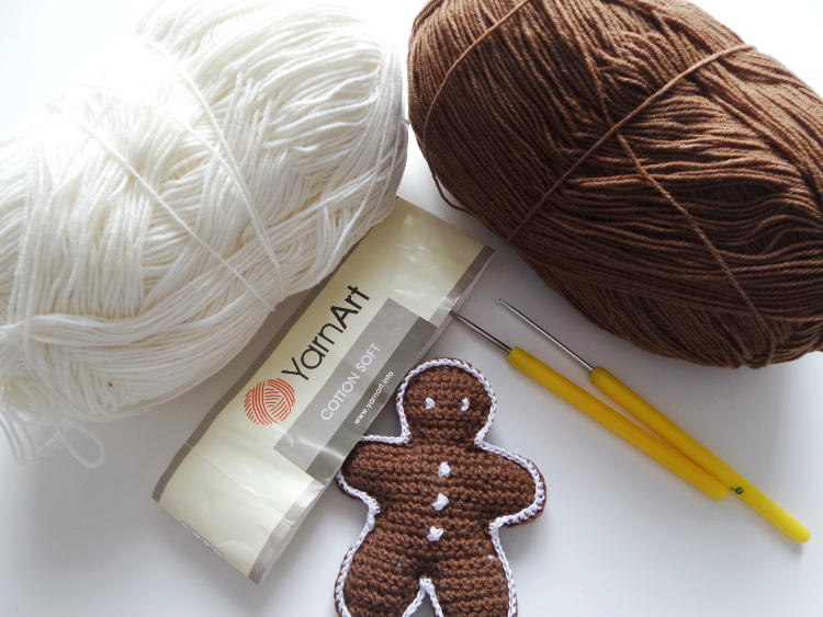 tydzień przedświąteczny, Szkoła Szydełkowania, piernik na choinkę, tutorial, szydełkowanie, crochet, crochet gingerbread man,