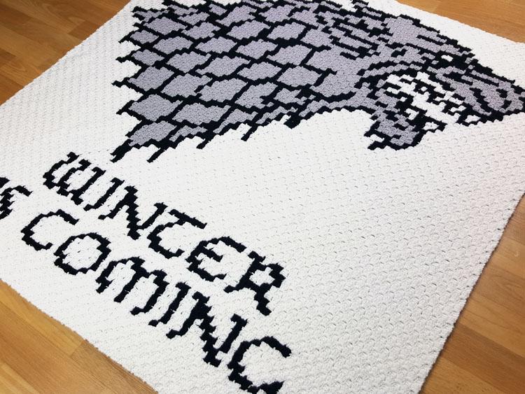 winter is coming, Gra o tron, Game of Thrones, wilkor, szydełkowanie, c2c, corner2corner, od rogu do rogu, Szkoła Szydełkowania