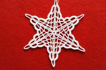 śnieżynka, szydełkowa śnieżynka, crochet snowflake, Szkoła Szydełkowania, szydełkowanie