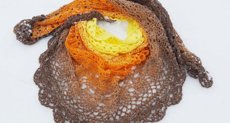 chusta na szydełku, Kolorowe włóczki, crochet shawl, Szkoła Szydełkowania, Zachód słońca nad Alaską